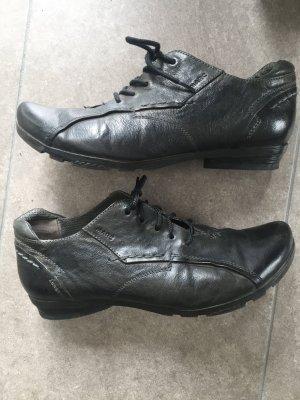 MARC Escarpins à lacets noir-gris anthracite cuir