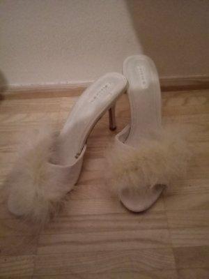 39 Schuhe Pantoletten oysho weiß creme