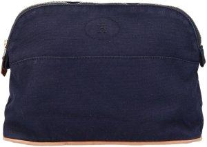 39039 Hermès Bolide Kulturtasche, Clutch aus Baumwolle in Dunkelblau