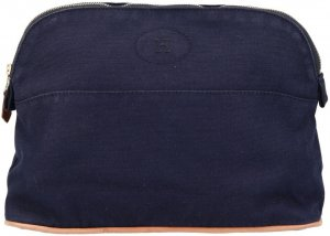 Hermès Borsa clutch marrone chiaro-blu scuro Cotone