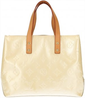 39357 Louis Vuitton Reade PM Monogram Vernis Leder in Creme Weiss Tasche, Handtasche