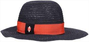 Hermès Sombrero de ala ancha azul oscuro cáñamo