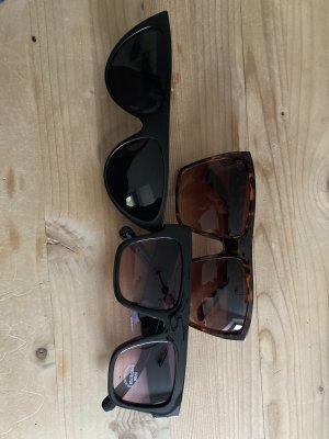 Hoekige zonnebril zwart-zwart bruin