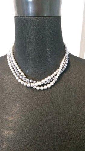 Collar de perlas color plata-gris claro tejido mezclado