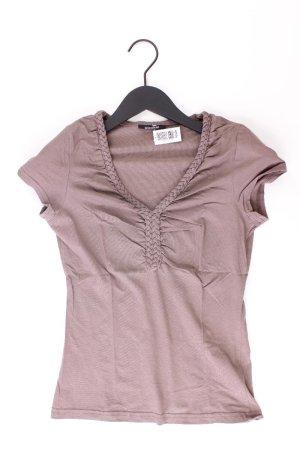 3SUISSES Shirt mit V-Ausschnitt Größe 32/34 Kurzarm braun aus Baumwolle
