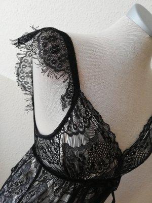 3suisses Spitzenkleid 32 XXS schwarz weiß Kleid neu knielang Cocktailkleid gothic metal