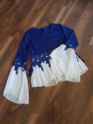Made in Italy Camicia a tunica bianco-blu