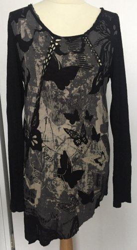 40 42 M L DESIGUAL Rainbow XL shirt longshirt Tunika schwarz beige