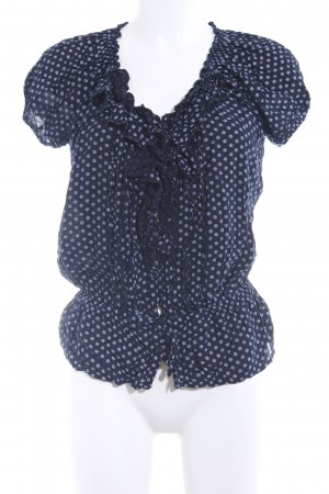 40 Grad Carmen blouse donkerblauw-azuur gestippeld patroon casual uitstraling