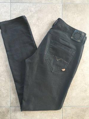 40 M 30 HUGO BOSS orange Hüfthose Hose Jeans Stoff Damen schwarz