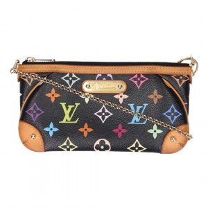40038 LOUIS VUITTON MILLA MM CLUTCH AUS MONOGRAM MULTICOLORE CANVAS IN NOIR