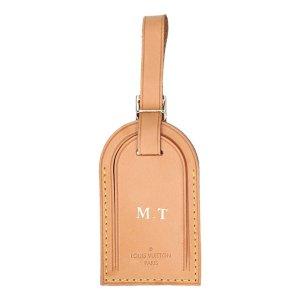 40081 Louis Vuitton Adressanhänger mit eingeprägten Initialen aus VVN Leder in Mittelbraun