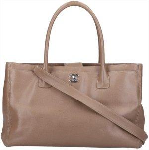 40871 Chanel CC Cerf Handtasche - Tasche aus Kalbsleder in grau/braun mit silberfarbenen Metall-Elementen