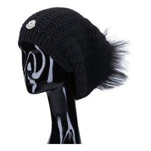 41362 Moncler Strick Mütze aus einem Wolle-Kaschmir-Mix in schwarz mit Pelz Bommel