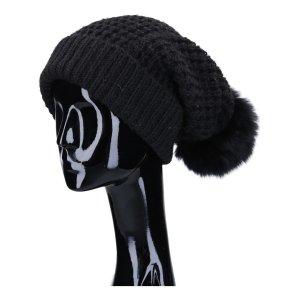 41368 Schumacher Strick Mütze aus Wolle, Acryl und Alpaca in schwarz mit Pelz Bommel in One Size