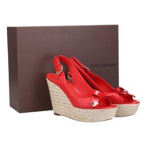 41397 Louis Vuitton Sandalen mit Keilabsatz aus Leder und Bast Gr. 39,5