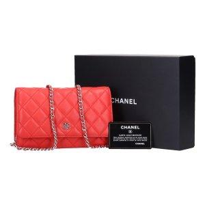 41636 Chanel WOC Wallet on Chain Handtasche Umhängetasche aus Leder in Coral rot