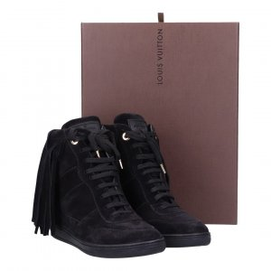 41721 Louis Vuitton Millenium Wedge Sneakers aus Suede Leder in schwarz Gr. 40