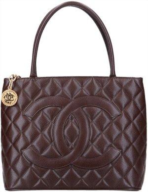 42168 Chanel CC Medallion Tote Shopper Tasche Handtasche aus genarbtem Kalbsleder in braun
