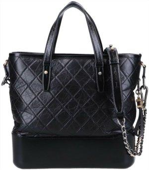 42169 Chanel Gabrielle 2-way Tasche Handtasche aus geknautschtem Kalbsleder in schwarz mit ID-Karte und Box
