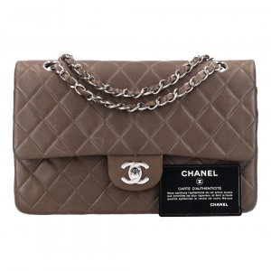 42465 Chanel CC Turnlock Timeless Flap Handtasche - Tasche Gr. Medium aus Lammleder in graubraun