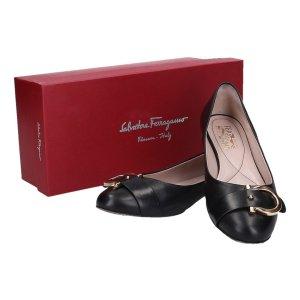 42534 Salvatore Ferragamo Ballerina Carrie Schuhe aus Leder Größe 39 (8,5) in schwarz