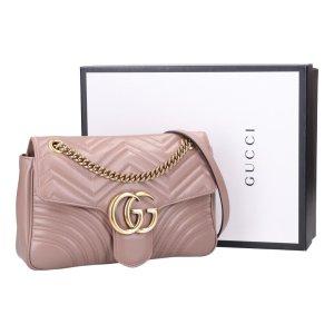 42904 Gucci mittelgroße GG Marmont Handtasche - Tasche aus Matelassé aus blassrosa Leder