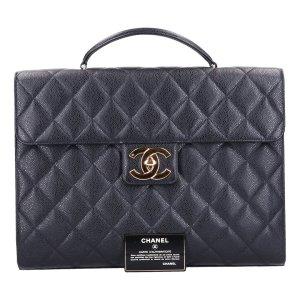 43118 Chanel CC Aktentasche Business Tasche aus genarbtem Kalbsleder und goldfarbenem Metall