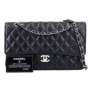 43136 Chanel CC Timeless Flap Handtasche Tasche Gr. Medium aus genarbtem Kalbsleder in schwarz mit silberfarbenem Metall