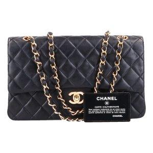 43484 Chanel CC Timeless Flap Handtasche Tasche Gr. Medium aus Lammleder in schwarz und goldfarbenem Metall