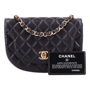 43585 Chanel halbmondförmige Handtasche aus Lammleder in schwarz