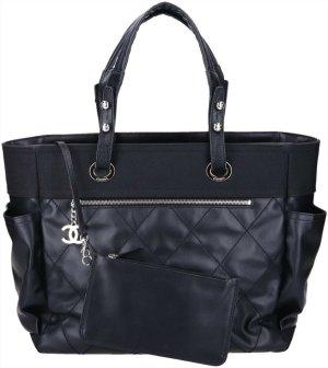 43806 Chanel CC Paris Biarritz GM Shopper Tasche Handtasche in schwarz mit silberfarbenen Metallelementen