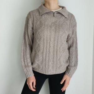 44 46 braun Oversize Pullover Hoodie Pulli Sweater Strickjacke Top Oberteil True Vintage