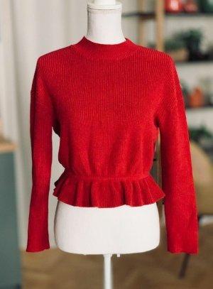 450€ Red Valentino Luxus Pullover rot Baumwolle Strick XS 34