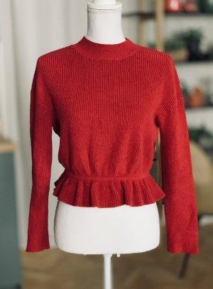 C. Valentino Pull tricoté rouge brique-rouge coton