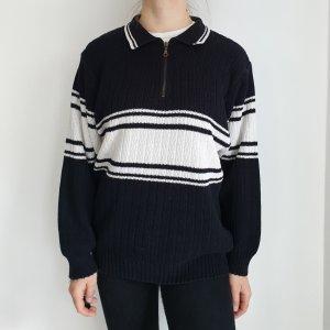 46 48 Steve Schwarz weiß Oversize Pullover Hoodie Pulli Sweater Top Oberteil Muster True Vintage