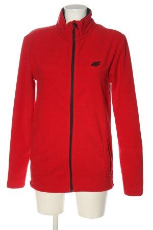 4F Kurtka polarowa czerwony-czarny Wydrukowane logo W stylu casual