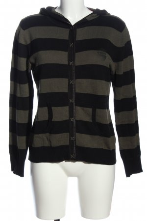 4Wards Hooded Sweater black-khaki striped pattern athletic style