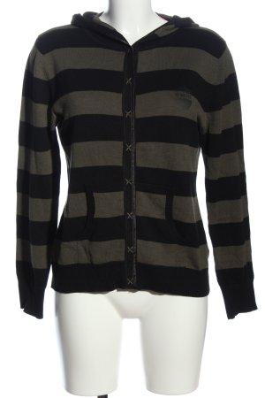 4Wards Sweter z kapturem czarny-khaki Wzór w paski Sportowy styl