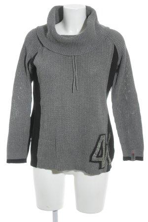 4Wards Rollkragenpullover grau-schwarz Lochstrickmuster Casual-Look