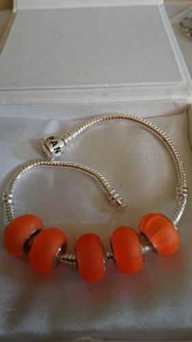5 Beads Charms Neon Orange Acryl mit 925 Sterlingsilber Hülsen TOP