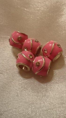 5 Charms Beads  Hochwertig versilbert rosa emailliert mit Strasssteine