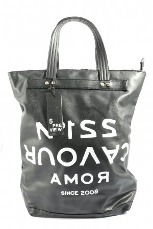 5 Preview Carry Bag black-white printed lettering casual look