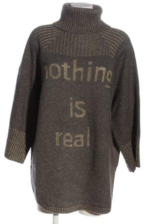 5 Preview Długi sweter jasnoszary-złoto Wydrukowane logo Elegancki