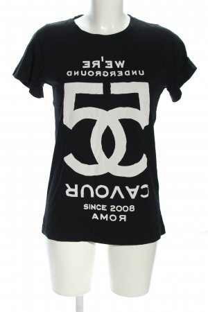 5 Preview Koszulka z nadrukiem czarny-biały Wydrukowane logo W stylu casual