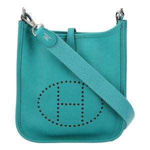 5014 Hermès Evelyne 16 TPM Amazone Veau Epsom Leder Bleu Paon Blau Tasche, Handtasche, Umhängetasche