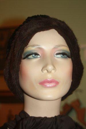 Wollen hoed zwart-donkerbruin Bont