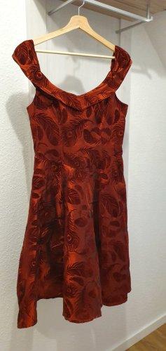 Vestido con enagua rojo oscuro-rojo neón tejido mezclado