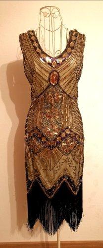 50er Style Kleid Midi Vintage Glitter Gold