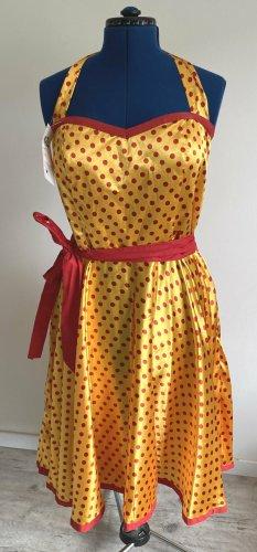 T.Point Halter Dress gold orange-red cotton